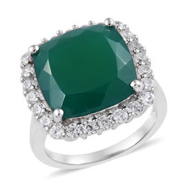 8.21 Ct Verde Onyx and Cambodian Zircon Halo Ring in Platinum Plated Sterling Silver 5.35 Grams