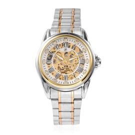GENOA Automatic Skeleton White Austrian Crystal Studded Water Resistant Watch with Stainless Steel S