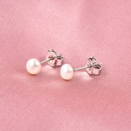 Freshwater Pearl Stud Earrings (with Push Back) in Rhodium Overlay Sterling Silver