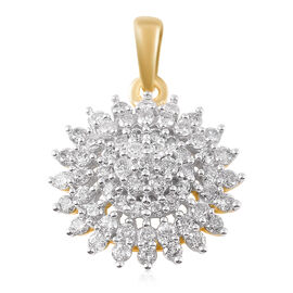 9K Yellow Gold SGL Certified Diamond (I3-GH) (Rnd) Floral Cluster Pendant 1.00 Ct.
