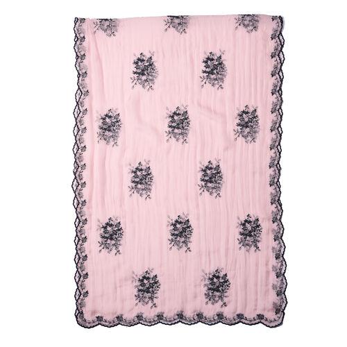 LA MAREY 100% Mulberry Silk Flower Embroidery Pattern Scarf in Pink(180x58cm)