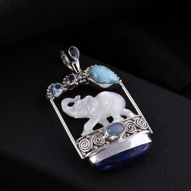 Sajen Silver BALI GODDESS COLLECTION - Larimar, Lapis Lazuli and Multi Gemstone Elephant Pendant in Sterling Silver 36.00 Ct, Silver wt 15.53 Gms.