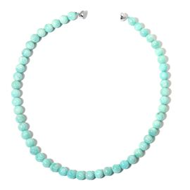 AAA Rare Size Russian Amazonite Necklace (Size 20) with Magnetic Clasp in Rhodium Plated Sterling Silver 362.500 Ct.