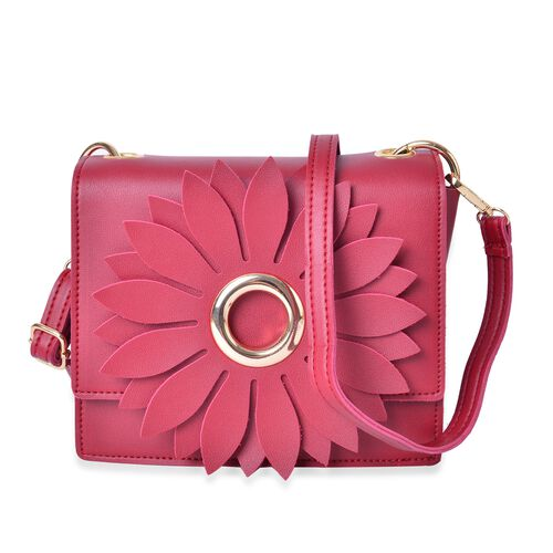 Sunflower Adorned Red Colour Crossbody Bag with Adjustable and Removable Shoulder Strap (Size 19x17x