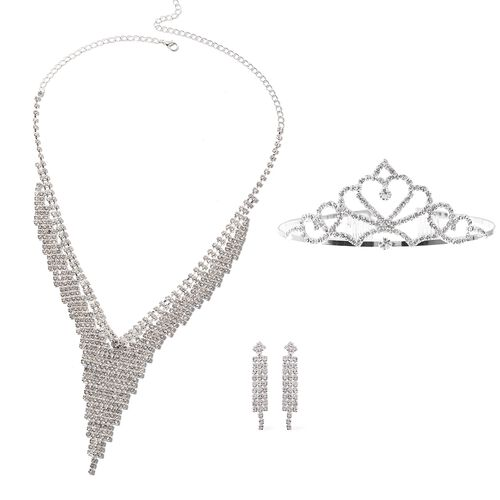 3 Piece Set Crystal Waterfall Necklace Tiara and Earrings 16 with 7 inch Extender