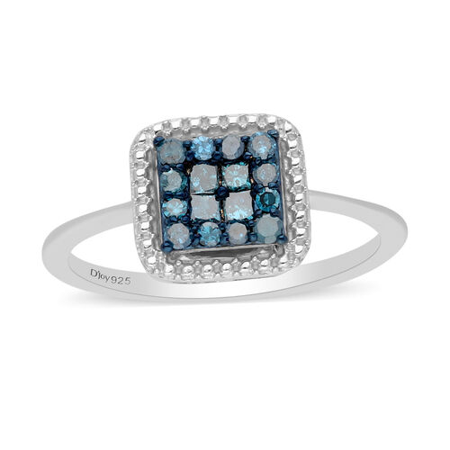 Blue Diamond Ring in Platinum Overlay Sterling Silver 0.33 Ct.