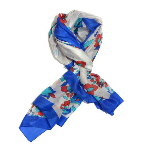 100% Mulberry Silk Blue, White and Multi Colour Paisley Pattern Scarf (Size 180x100 Cm)