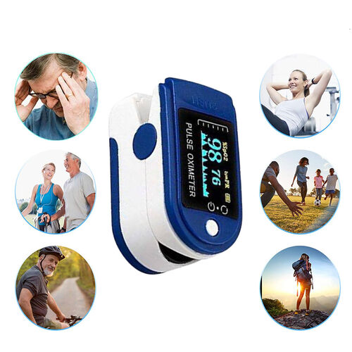 Pulse Oximeter, Oxygen Saturation Monitor (Requires 2 AAA Batteries - Not Included) - Blue