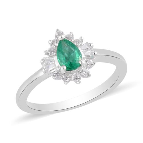 AA Kagem Zambian Emerald and Natural Cambodian Zircon Ring in Platinum Overlay Sterling Silver 1.00