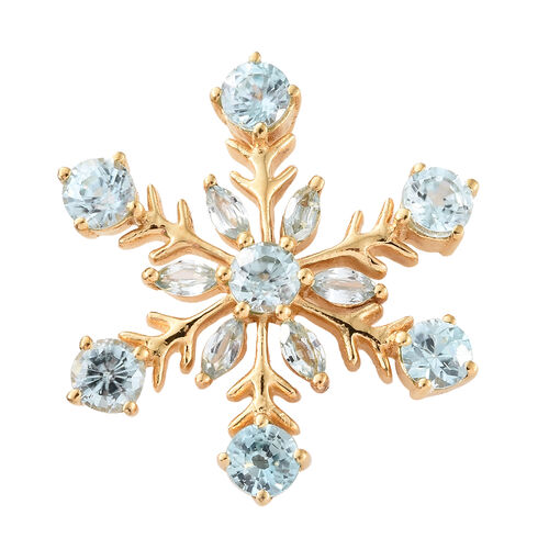 Simulated Blue Topaz (Mrq 3.50 Ct) Snowflake Pendant in 14K Gold Overlay Sterling Silver