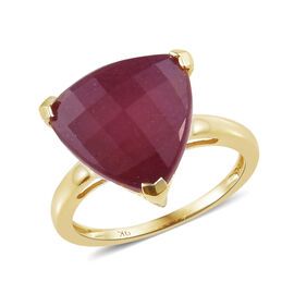 9K Yellow Gold AAA African Ruby (Trl 13 mm) Ring (Size Q) 9.000 Ct.