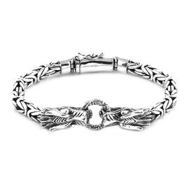 Royal Bali Collection - Sterling Silver Dragon Head Borobudur Bracelet (Size 7), Silver wt 50.23 Gms