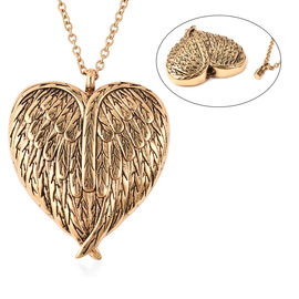 2 Piece Set - Heart Memorial Pendant with Chain (Size 20)  and Funnel with Needle in Yellow Gold Ton
