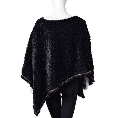 Black Colour Faux Fur Poncho with Multi Colour Lace Border (Size 94X80 Cm)