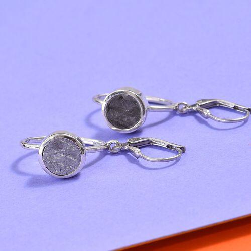 Meteorite (Rnd) Drop Lever Back Earrings in Platinum Overlay Sterling Silver 6.00 Ct.