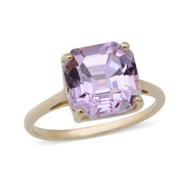9K Yellow Gold Martha Rocha Kunzite (Asscher Cut) Solitaire Ring 5.81 Ct.