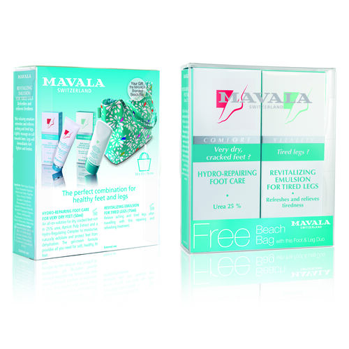 Mavala: Foot Care Duo, Foot Cream - 50ml & Leg Revitalizing Gel -75ml (With Free Beach Bag)