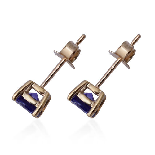9K Yellow Gold AAA Premium Tanzanite (Round 5MM) Stud Earrings (with Push Back) 1.00 Ct.