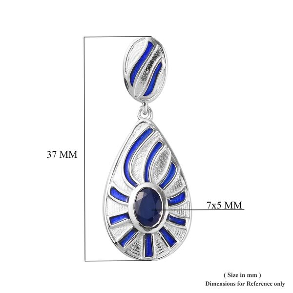 Tanzanian Blue Spinel Enamelled Pendant in Platinum Overlay Sterling Silver 1.00 Ct.