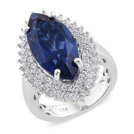 Ceylon Colour Quartz (Mrq 6.30 Ct), Natural Cambodian White Zircon Ring in Platinum Overlay Sterling Silver 7.500 Ct, Silver wt 5.38 Gms.