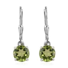 AA Hebei Peridot (Rnd) Lever Back Earrings in Platinum Overlay Sterling Silver 2.750 Ct.