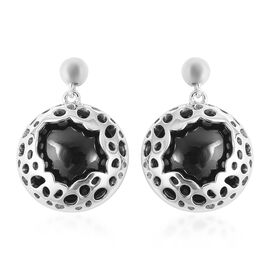 RACHEL GALLEY 44.16 Ct Boi Ploi Black Spinel Solitaire Drop Earrings in Rhodium Plated Silver