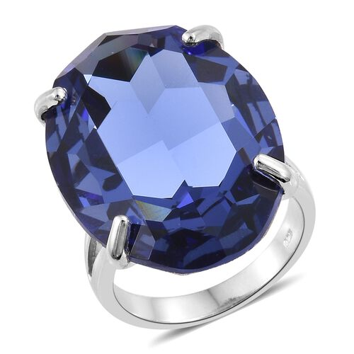 J Francis Crystal from Swarovski - Tanzanite Colour Crystal (Ovl) Ring in Platinum Overlay Sterling Silver, Silver wt 5.82 Gms.
