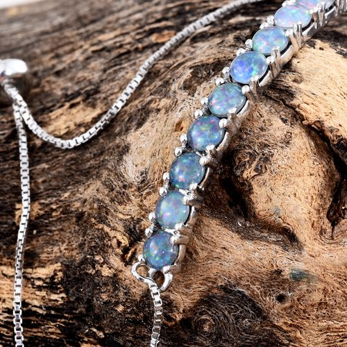 Australian Boulder Opal (Rnd) Adjustable Bracelet (Size 6.5 to 8) in Platinum Overlay Sterling Silver 2.250 Ct.