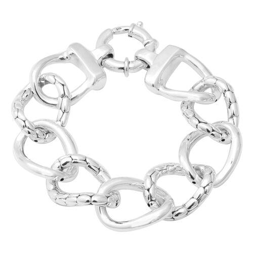 Link Bracelet with Senorita Clasp in Thai Sterling Silver 8 Inch