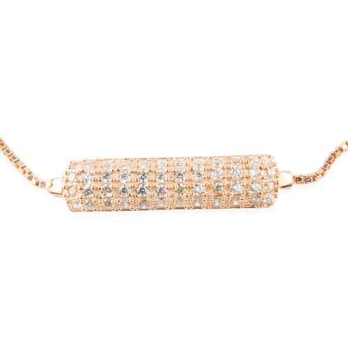 ELANZA AAA Simulated Diamond (Rnd) Adjustable Bracelet (Size 6.5 to 7.5) in Rose Gold Overlay Sterling Silver. Silver wt. 4.70 Gms.