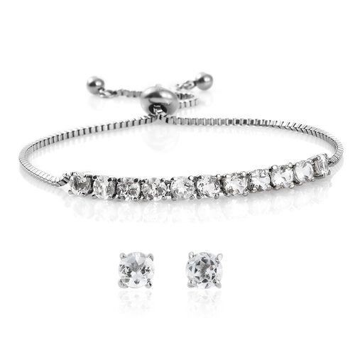 White Topaz (Rnd) Adjustable Bracelet (Size 6.5 to 8.5) and Stud Earrings (with Push Back) in Platinum Overlay Stainless Steel 4.500 Ct.