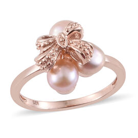 Fresh Water Pink Pearl (5-5.5 mm) Bow Ring in Rose Gold Overlay Sterling Silver.