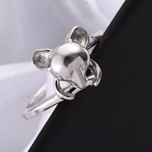 Character Mouse Ring in Platinum Overlay Silver, Silver Wt 2.83 gms