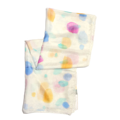 100% Mulberry Silk Off White, Pink and Multi Colour Handscreen Printed Scarf (Size 180x100 Cm)