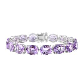 51.25 Ct Amethyst Tennis Bracelet in Rhodium Plated Sterling Silver 15.90 Grams 7.5 Inch