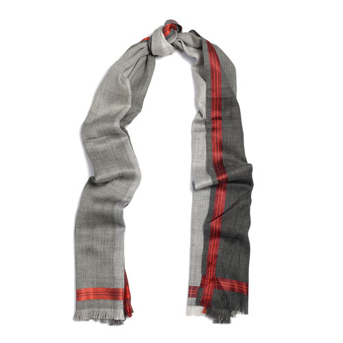 92% Wool and  8% Silk Check Pattern Grey and Red Colour Scarf  (Size 180x70 Cm)