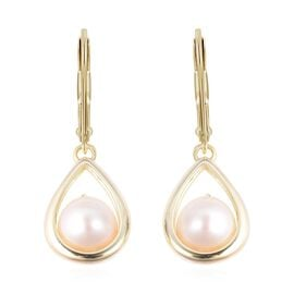 Freshwater Pearl (Rnd) Lever Back Earrings in Yellow Gold Overlay Sterling Silver