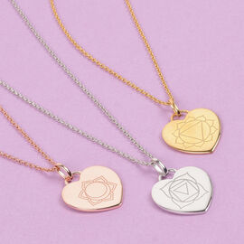 Personalised Engraved Chakra Heart Pendant with Chain in Silver