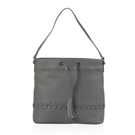 Super Soft 100% Genuine Leather Grey Colour Surreal Grey Draw String Bag (Size 31x29x12 Cm)