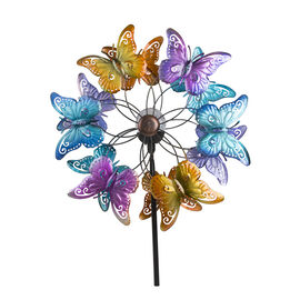 Hand Painted Butterfly Pattern Wind Spinner with Solar Powered LED Size 48.2x20.3x177.8 Cm