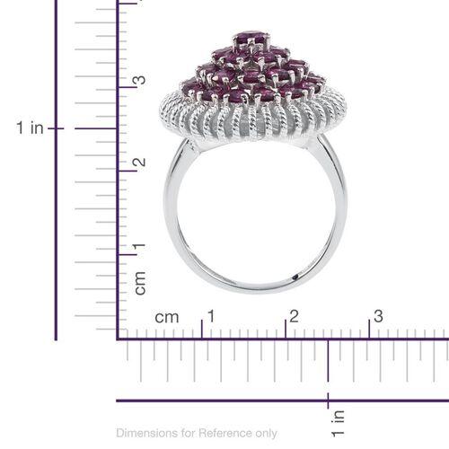 GP Rhodolite Garnet (Rnd), Kanchanaburi Blue Sapphire Cluster Ring in Platinum Overlay Sterling Silver 4.750 Ct.