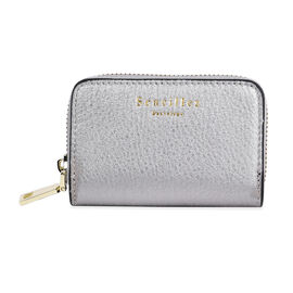 SENCILLEZ Genuine Leather RFID Protected Card Holder with Zipper Closure (Size 11x7x2.5 Cm) - Silver
