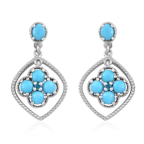 3.25 Ct AA Sleeping Beauty Turquoise and Neon Apatite Drop Earrings in Sterling Silver 5.49 Grams