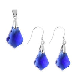 2 Piece Set - Simulated Sapphire Drop Pendant and Hook Earrings in Rhodium Overlay Sterling Silver