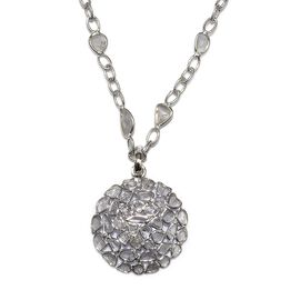 GP Polki Diamond and Blue Sapphire Necklace (Size 18 with 2 inch Extender) in Platinum Overlay Sterl