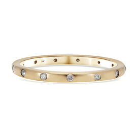 9K Yellow Gold SGL Certified Diamond (I3/ G-H) Band Ring 0.15 Ct.