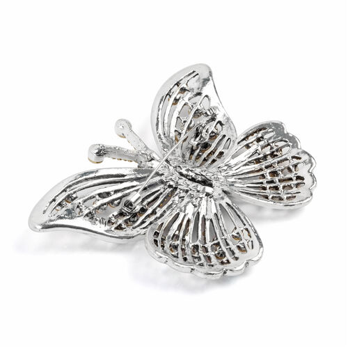 Multi Colour Austrian Crystal (Rnd), Simulated Grey Spinel Butterfly Brooch in Silver Tone