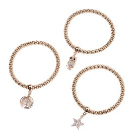 Designer Inspired 3 Piece Set - White Austrian Crystal Star, Owl and Tree of Life Charm Stretchable Bracelet (Size 7.5) - Gold Plated