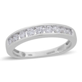 ILIANA 0.50 Ct Diamond Half Eternity Band Ring in 18K White Gold 3.20 Grams IGI Certified SI GH
