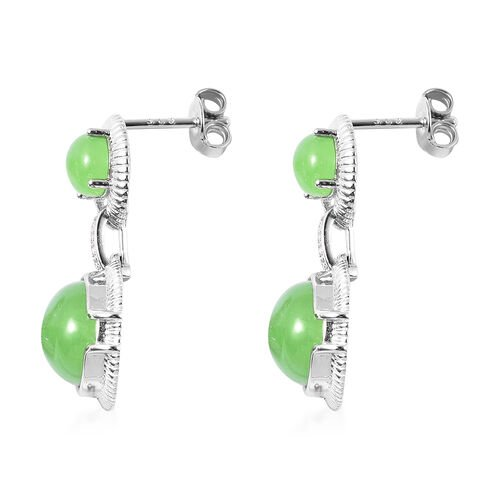 Green Jade and Natural Cambodian Zircon Dangle Earrings (with Push Back) in Rhodium Overlay Sterling Silver 14.70 Ct.